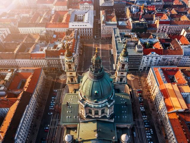 Budapest, Hungary - Aerial view of the beautiful St.Stephen's Basilica (Szent Istvan Bazilika) at sunset